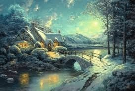 Legpuzzel 500 stukjes Thomas Kinkade Christmas Moonlight-0